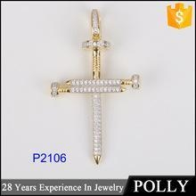 China Hot sales 925 sterling silver cross with diamond jewelry pendant necklace on sale
