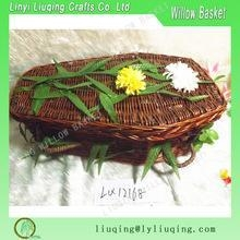 China Factory supplies willow wicker coffin wicker casket for funeral for sale handmade on sale