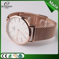 Mesh band watch 3atm waterproof japan movt quartz watch stainless steel back