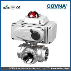 China Inner thread 3 way electric ball valve on sale