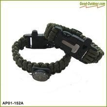China Survival 550 Paracord Bracelet With Fire Starter,Whistle,Blade,Compass on sale