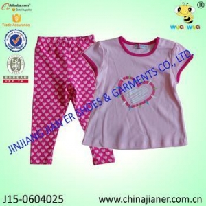 China 2pcs suit set summer low price 100%cotton girls clothing sets on sale