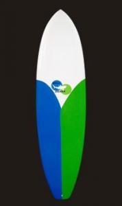 China Model# 090 Full Bamboo Design Fiberglass Short Surfboard on sale