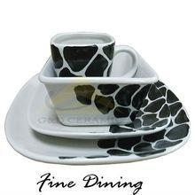 China 4/16pcs Hand-painted White Square Ceramic Dinnerware Set Dinner Plate Mug on sale