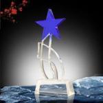 Blue star crystal trophy award