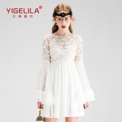 China YIGELILA 61110 Latest 2016 Spring New Women Slash Neck Lace Embroidery Dress on sale