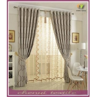 China 100% Polyester European Blackout Simple Bay Window Curtain on sale