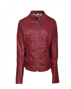 China Henan Cciola spring women good quality short red leather jacket on sale