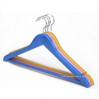China Blue Solid Wood Clothes Hanger for Suits,Candy Colors on sale