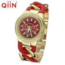 China Geneva Watches QE0103 Metal and acrylic chain bracelet geneva diamond watch on sale
