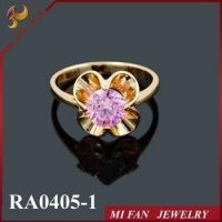 China Ring Crystal jewelry,red stone ring,golden ring JOY FAN JEWELRY on sale