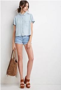 China casual blouse&shirts 2015 China wholesale cheap short sleeve boxy chambray shirts for women on sale