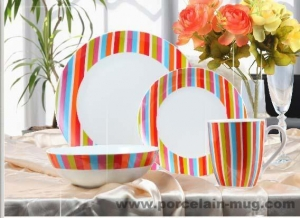 China Dinner set 16pcs dinner set-colorful stripe on sale