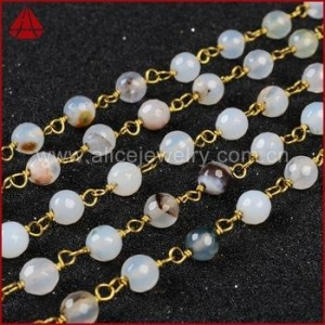 China 5mm-6mm opal white agate rondelle beads gold filled chain on sale