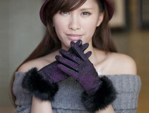 China Sheep Lamb Leather Winter Fur Gloves With Mix Color Rabbit Fur Cuff Lace Shell on sale