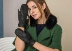 Mittens Women Short Fashion Leather Gloves With Imitation Serpentine