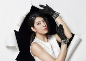 China Crystal Cuff Fashion Leather Gloves With Women Black Sheep Leather on sale