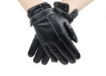 Basic Style Men Black Leather Gloves With Belt Buckle Cuff Sheep Leather