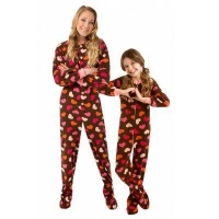 FAMILY SETS Hearts Printed Polar Fleece Footed Kids Onesie Pajamas