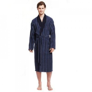 China Bathrobes HOME Striped Fleece Sleeping Night Gowns for Men on sale