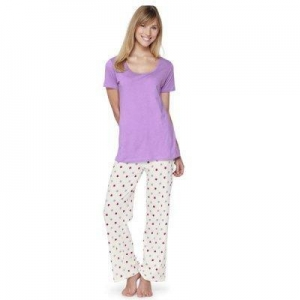 China Short Pajama Sets HOME Ladies Pyjama Set Short Sleeve Top and Star Printed Bottom on sale