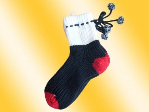 China Arm warmers Color:black and red, with lovely decorations on sale