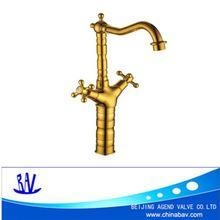 China Electroplating Gold Dual Handle Bathroom Basin Faucet Sink tap on sale