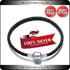 China Black Leather Bead Bracelet For Girls Factory Direct Silver Bead Bracelet on sale