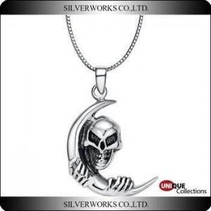 China Skull Tulwar Thai silver pendant 925 sterling silver charms Punk Rapper Dancer accessories on sale