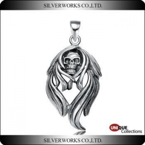 China Rock Roll Skull silver pendant Crazy devil 925 sterling silver charms for Punk band on sale