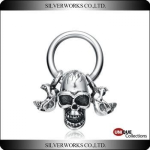 China New arrival skull necklace pendant sets Punk Antique 925 sterling silver charms for men on sale