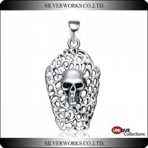 China Skull artist necklace pendant new arrival 925 sterling silver charms skull head ornament on sale