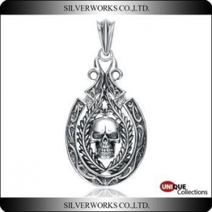 China Qualified 925 Sterling Silver Pendant Gothic skull DIY Ornaments Charms on sale