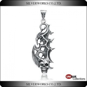 China Antique S925 Sterling Silver charms Gothic Cool Men's Punk Skull Pendant on sale