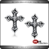 China 'Cross My Heart' - Men's Cross Gothic Metallic Sterling Silver Stud Earrings for sale