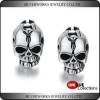 China Fashion Solid 925 Sterling Silver Imitation Black Oxidized Skull Stud Earring for sale