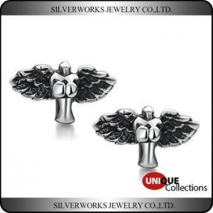China Retro Fashion Men's Antique Silver Jewelry Demon Wings Stud Earrings on sale