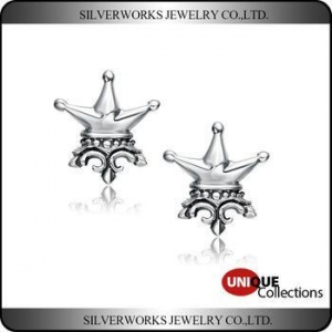 China Fashion Men's Solid 925 Sterling Silver Marcasite Vintage Crown Stud Earrings on sale