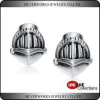 Vintage English c1960 Sterling Silver Medieval Engrave Knight Helmet Stud Earring