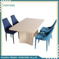 China New Design oak furniture modern wood dining table with veneer paper on sale