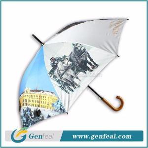 China Straight Umbrella 8k ribs heat transfer printing waterproof fabric for wooden handle umbrella on sale