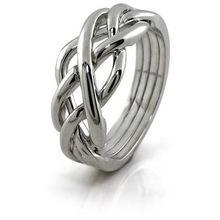 China Unique Design 925 Sterling Silver Twisted Band Women's Interlocking Stack Puzzle Ring on sale