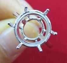 China Handmade Pure 925 sterling silver round Semi Mount Ring base holder on sale