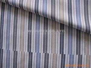 China Soft Handfeel Cotton Yarn Dyed Fabric Poplin Plain Weave Stripe Shirt Fabric on sale
