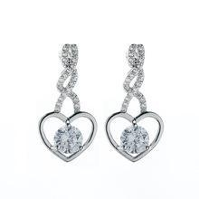 China Newest Fashion heart shape clear cubric zircon stone drop earring on sale