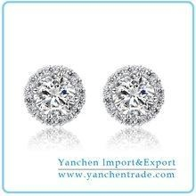 China 2014 Fashion 925 Sterling Silver Earring With Rhodium Plated Clear CZ Diamond on sale