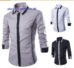 China KM-592 New design contrast slim fit mens shirts fashion casual dress shirts on sale