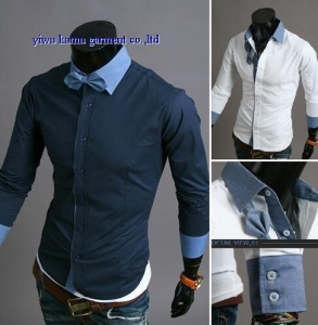China KM-591 New fashion CONTRAST Men's Long Sleeve Casual Slim Fit Stylish Dress Shirts on sale