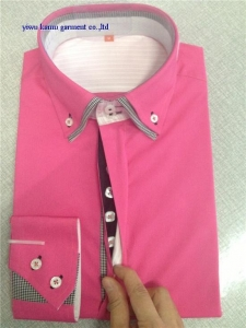 China KM-527 New designer 2014 fit casual slim shirt Double high collar fashion dress shirts for man on sale