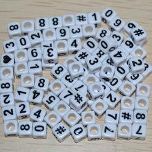 China Acrylic Arabic Numeral Cubic Bead Cube White Number Beads on sale